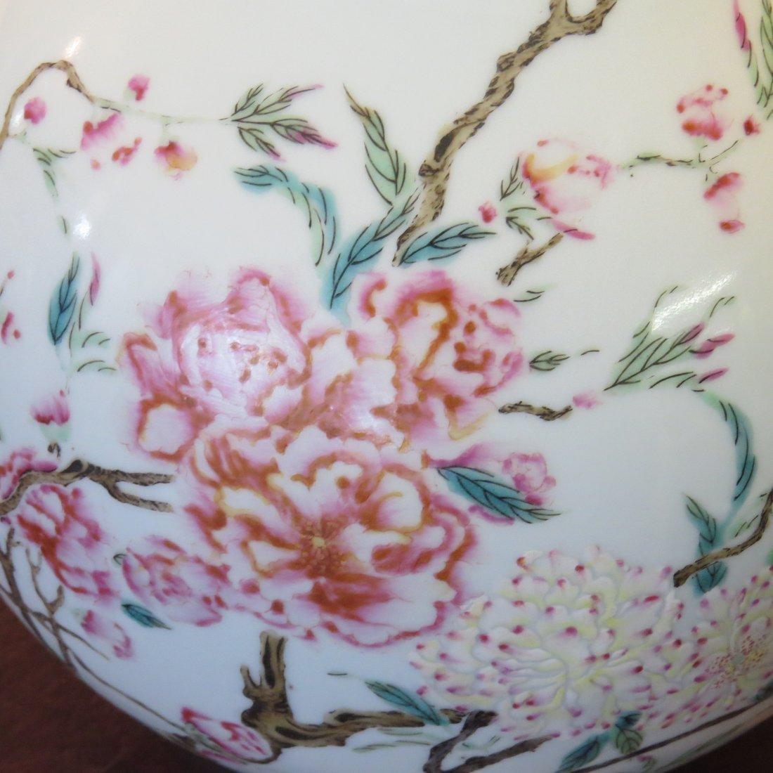 A Chinese Famille Rose Porcelain Bottle Vase. - 4