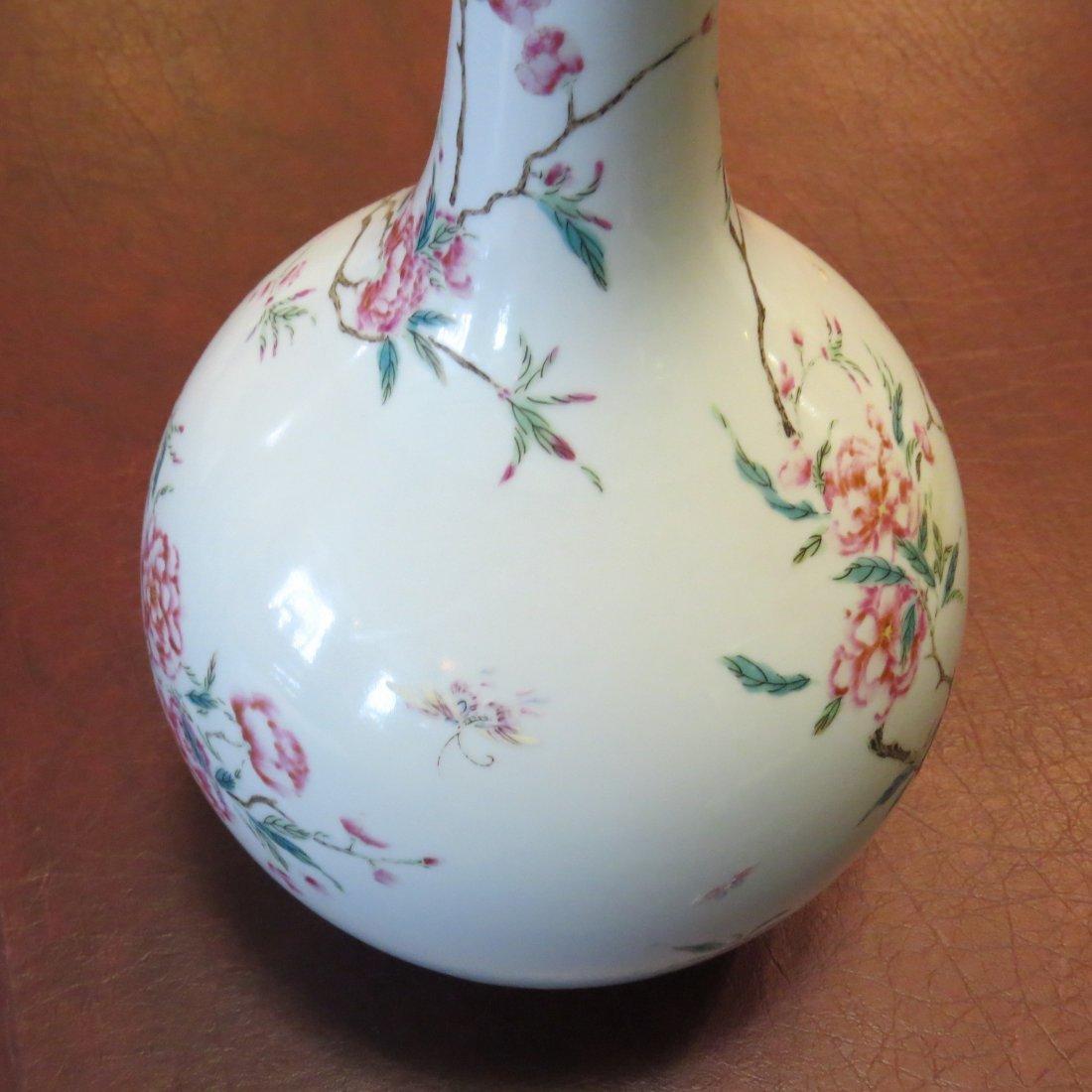 A Chinese Famille Rose Porcelain Bottle Vase. - 5