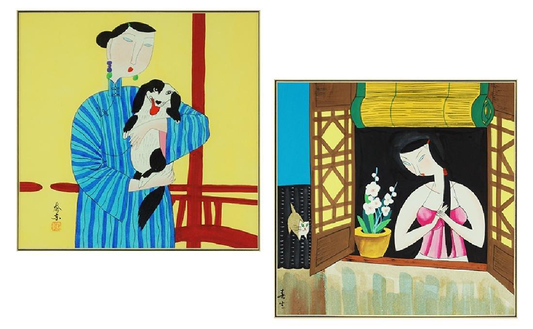 Yongkai Hu (Chinese, B. 1945) Two Works.