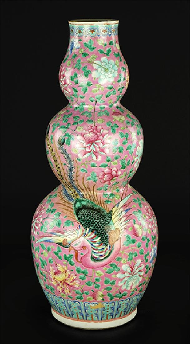 A Chinese Famille Rose Triple Gourd Vase.
