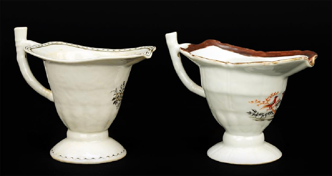 Two Chinese Export Porcelain Sauceboats.
