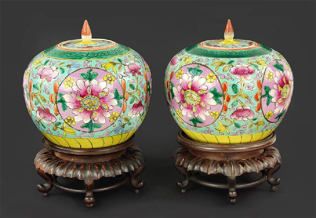 A Pair of Chinese Export Porcelain Ginger Jars.