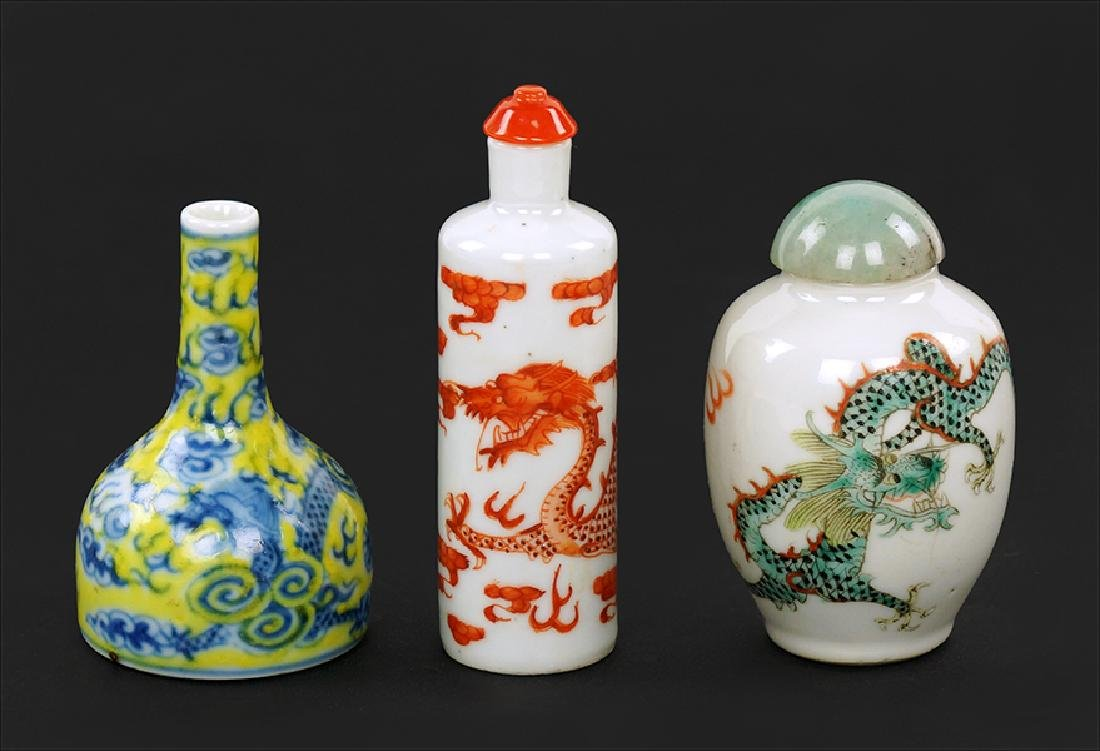 Two Chinese Porcelain Snuff Bottles.