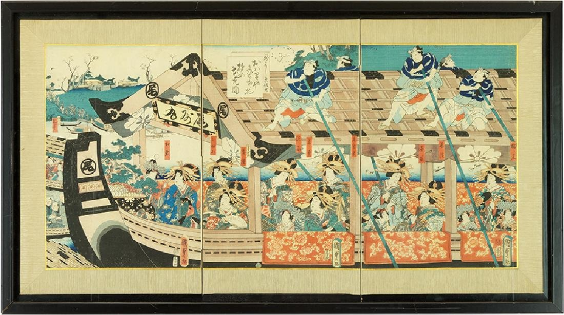 Toyokuni (Japanese, 19th Century) Women in a Barge.