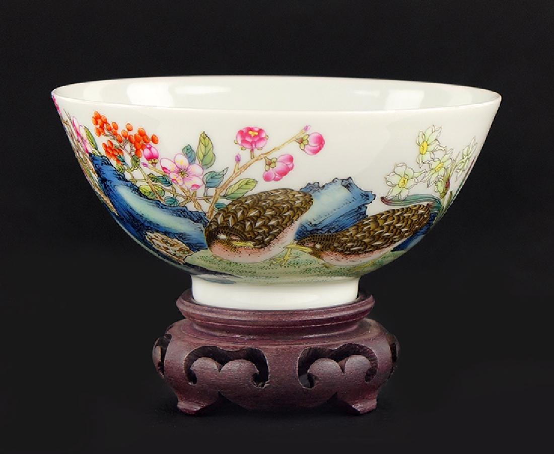 A Chinese Famille Rose 'Quail' Bowl.