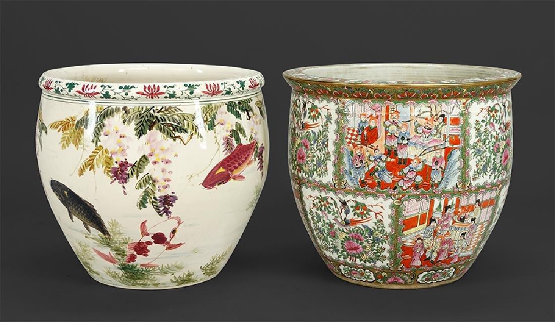 Two Porcelain Fish Bowls.