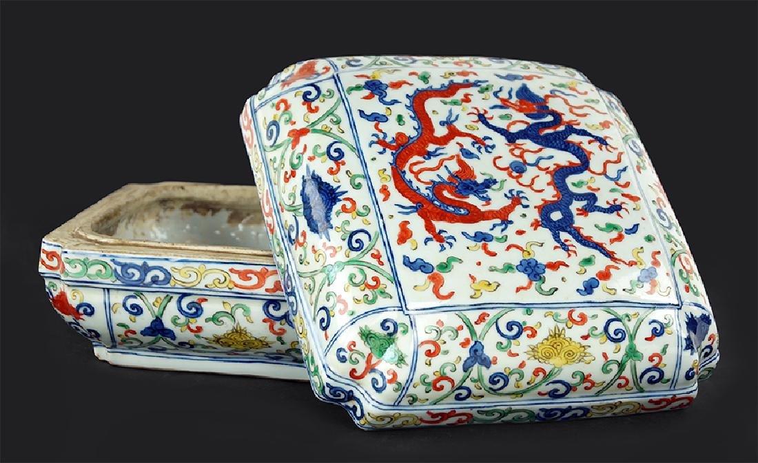 A Chinese Doucai Glazed Porcelain Box.