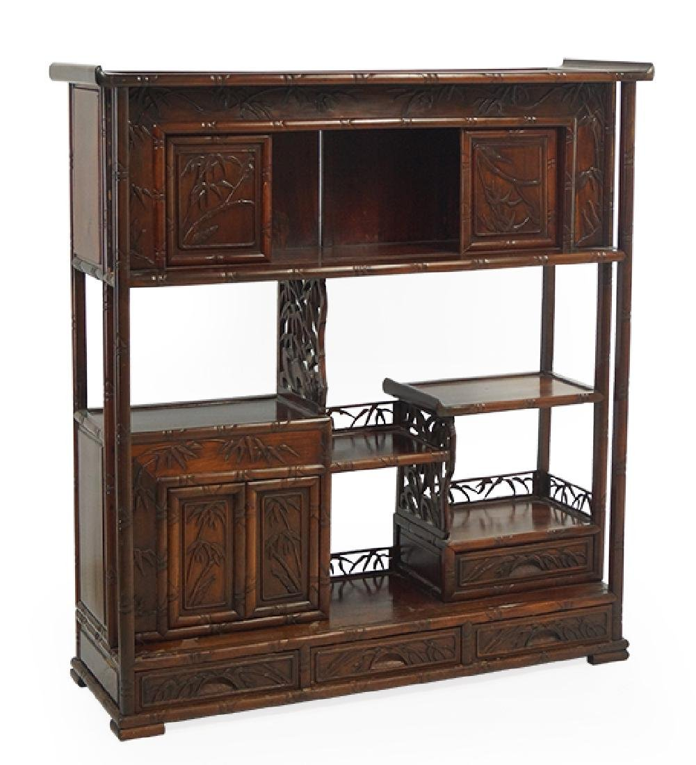A Chinese Carved Hardwood Cabinet.