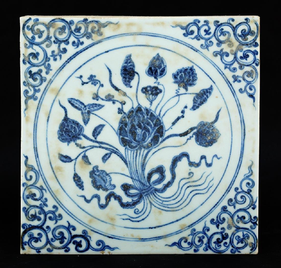 A Chinese Qing Dynasty Blue and White Porcelain Tile.