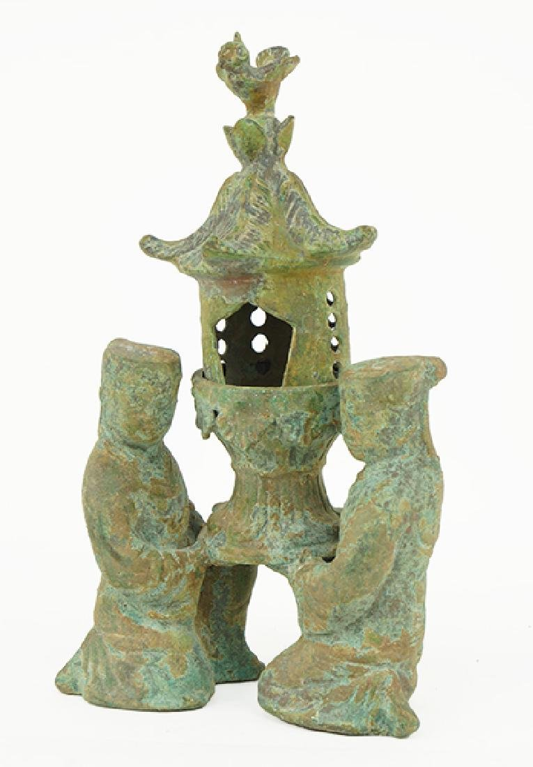 A Chinese Han Style Bronze Figural Lamp.