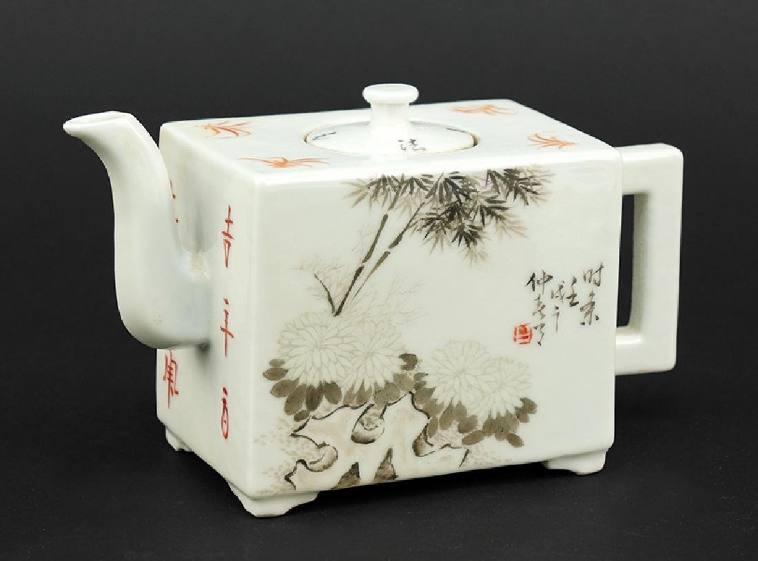 A Chinese Grisaille Decorated Teapot.