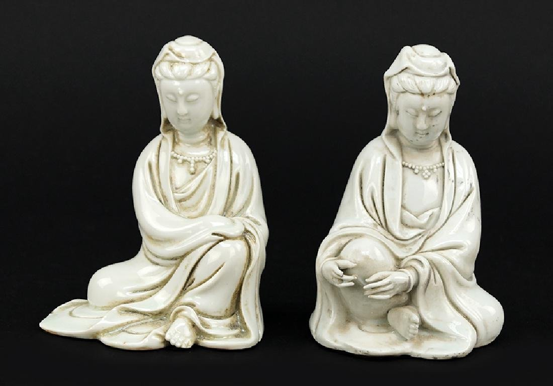 Two Blanc de Chine Porcelain Figures of Seated Guan