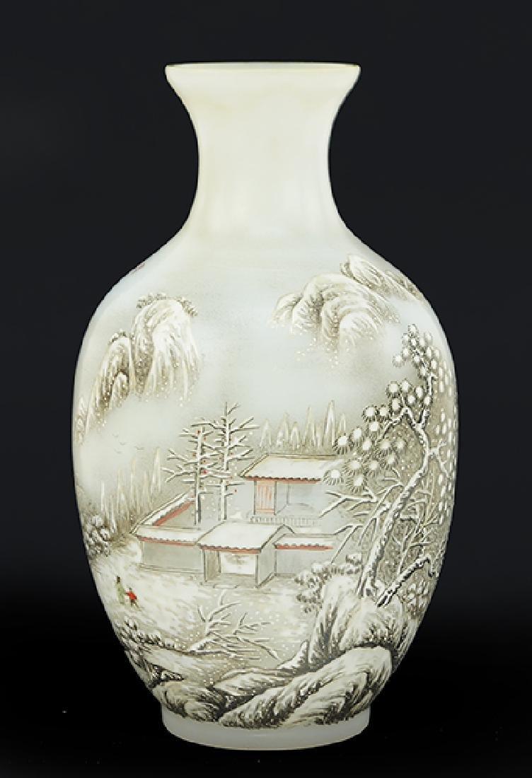 A Chinese Enameled Peking Glass Vase.