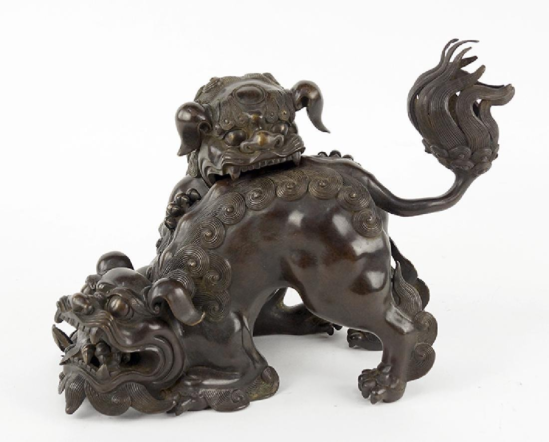 A Chinese Patinated Bronze Censer.