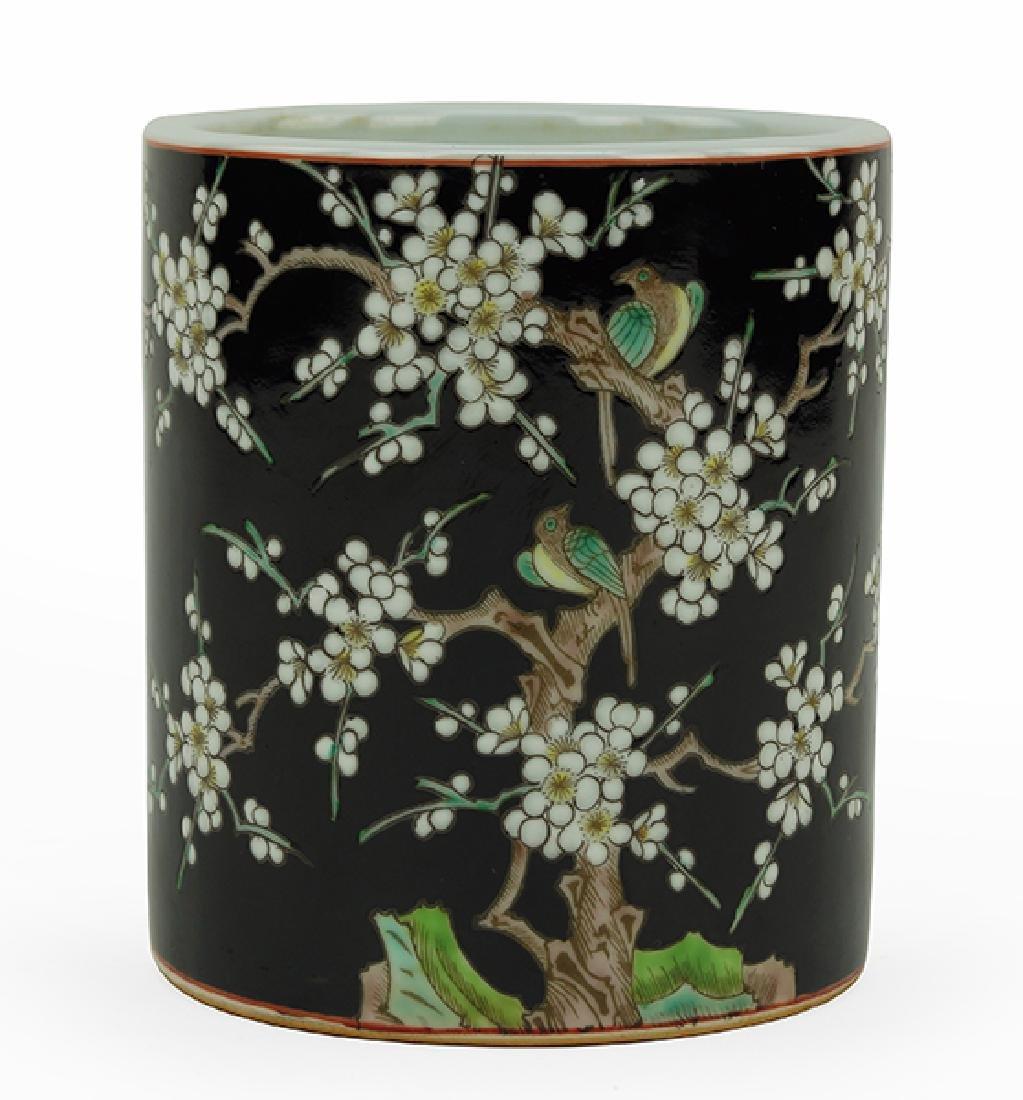 A Chinese Famille Noir Porcelain Brush Pot.