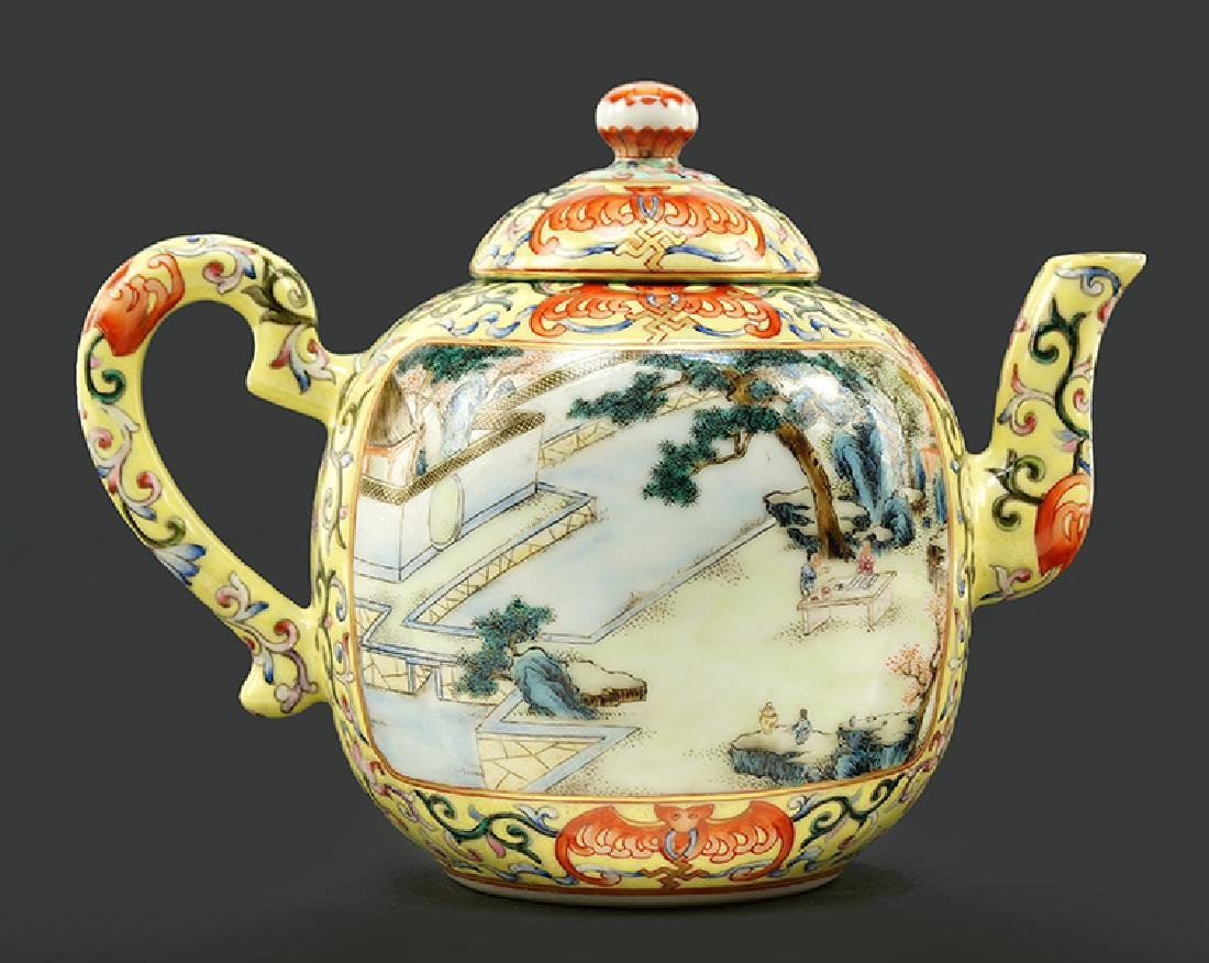 A Chinese Yellow Ground Famille Rose Teapot.