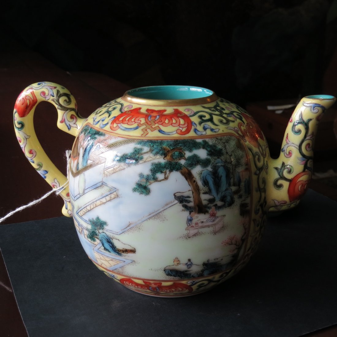 A Chinese Yellow Ground Famille Rose Teapot. - 3