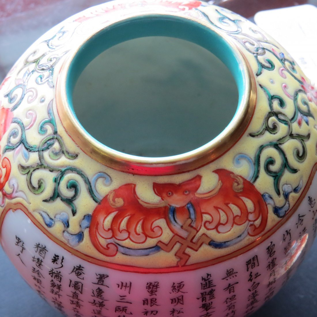 A Chinese Yellow Ground Famille Rose Teapot. - 4