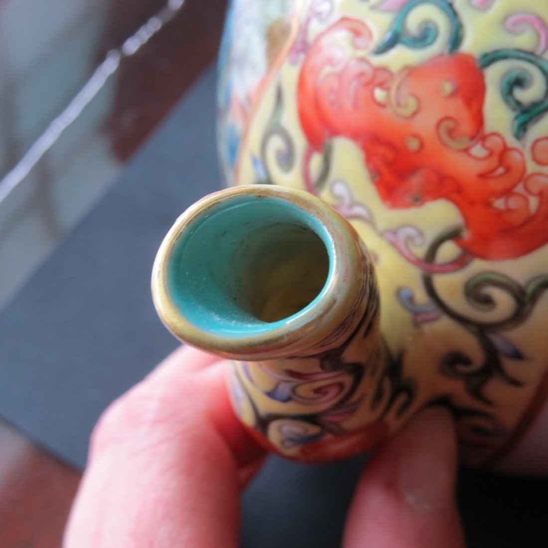A Chinese Yellow Ground Famille Rose Teapot. - 5