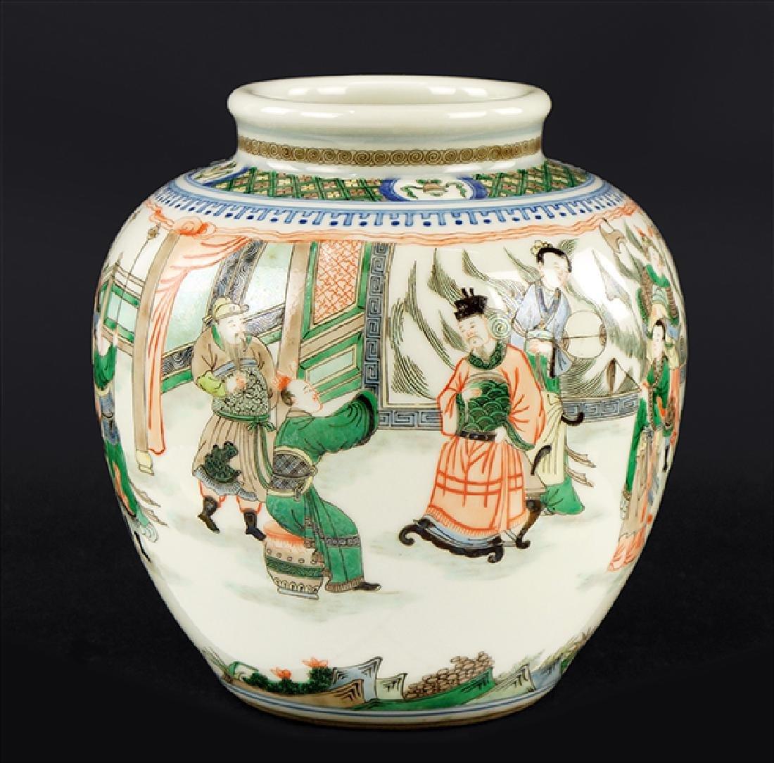 A Chinese Famille Verte Porcelain Jar.