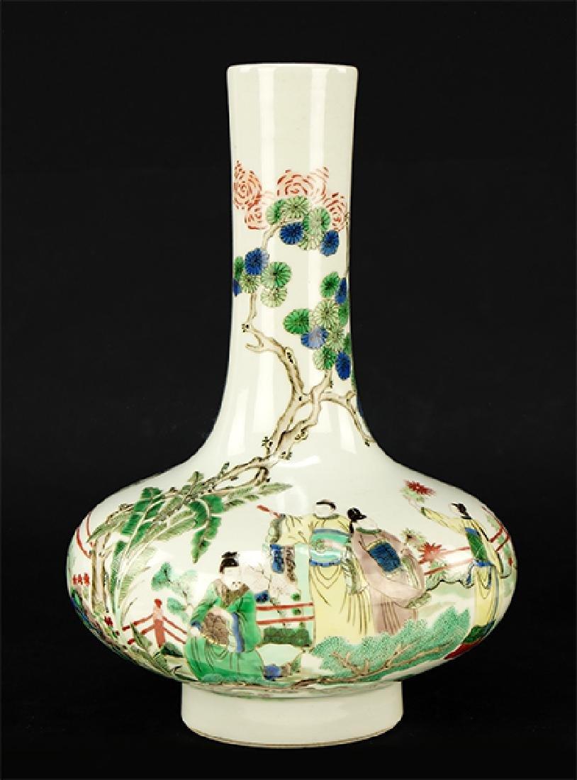 A Chinese Famille Verte Porcelain Bottle Vase.