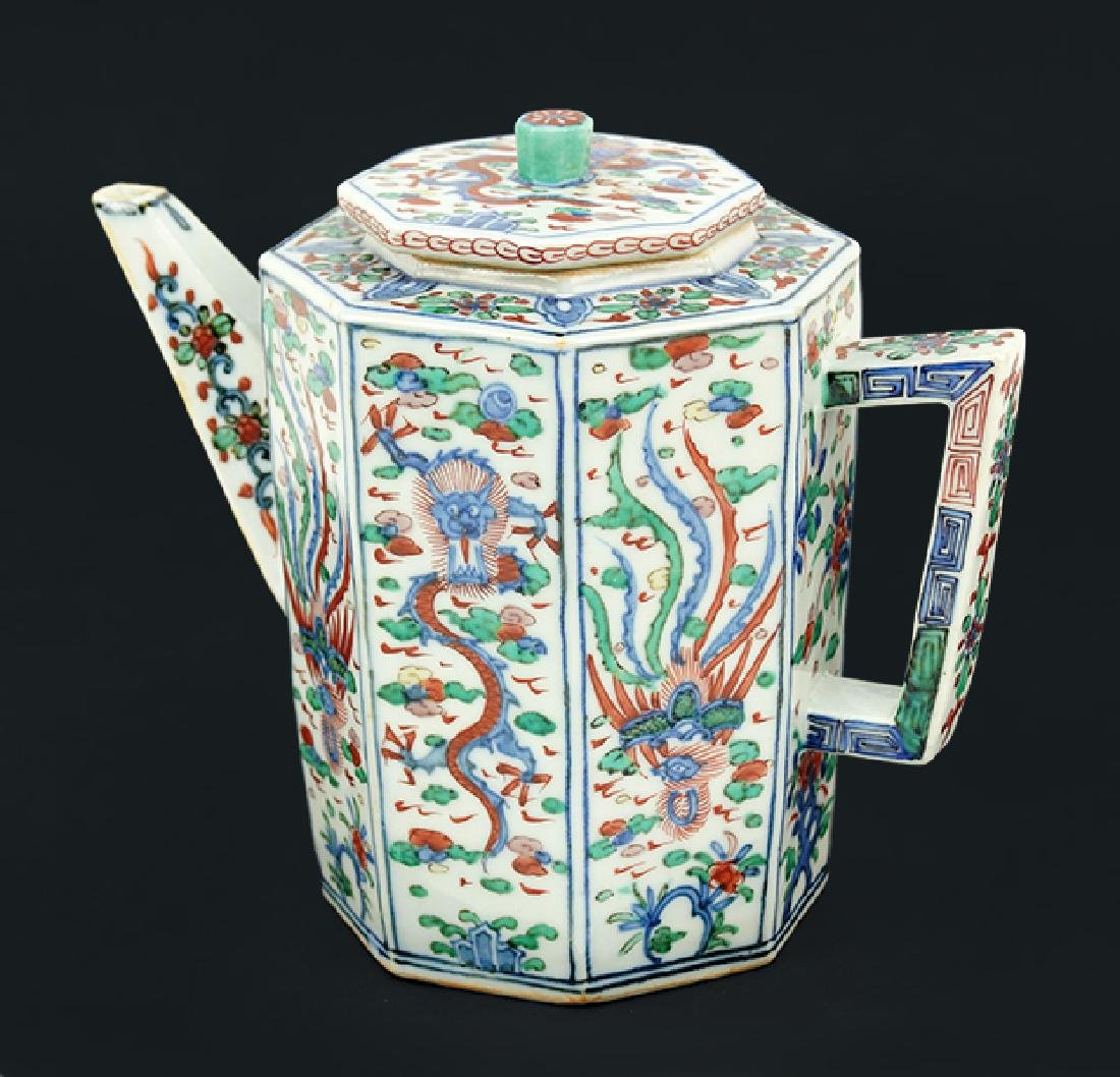 A Chinese Wucai Glazed Teapot.