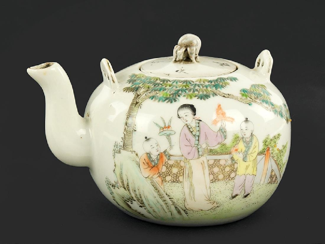 A Chinese Famille Verte Porcelain Teapot.