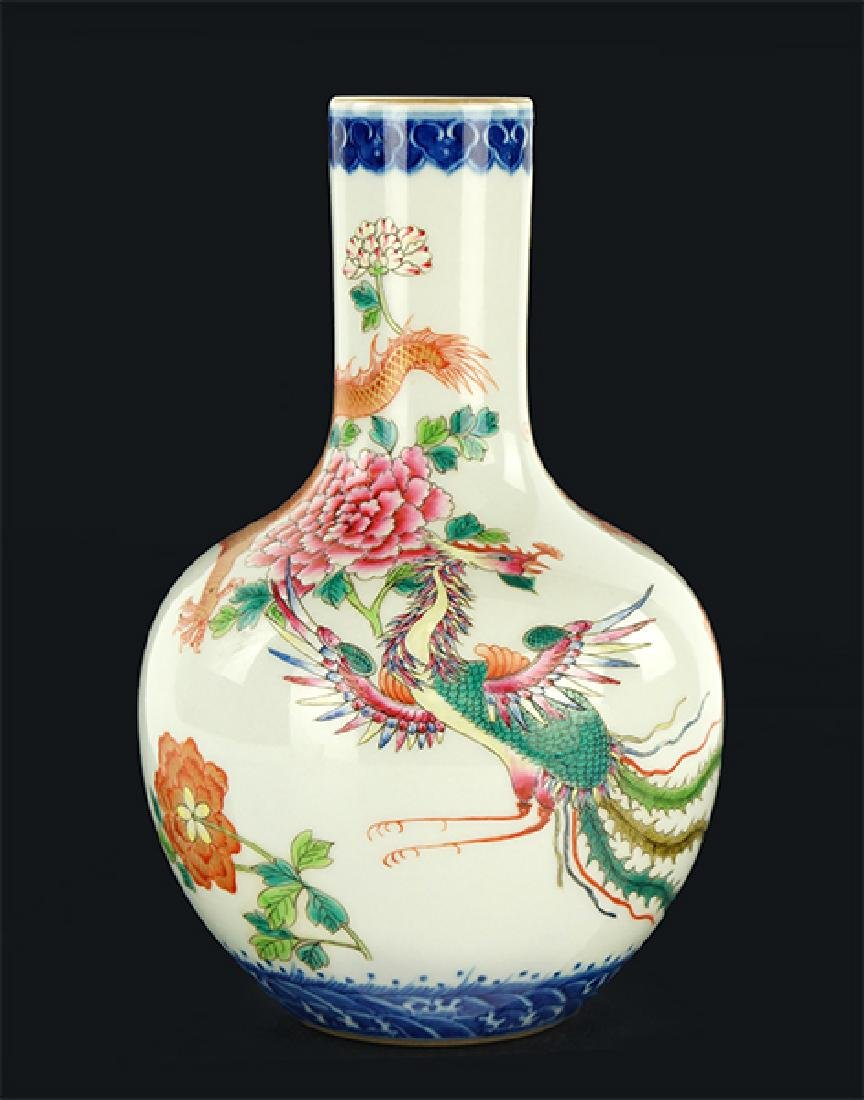 A Chinese Famille Rose 'Dragon and Phoenix' Globular