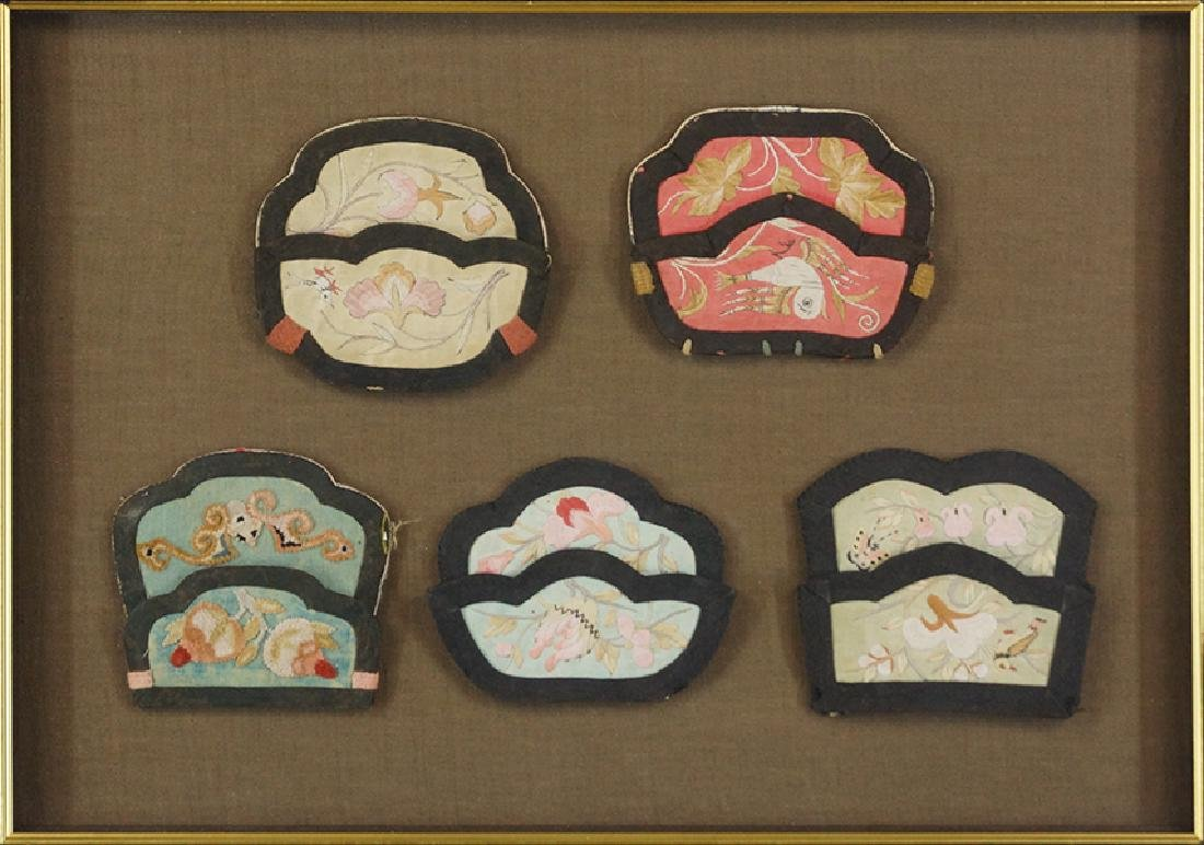 Five Qing Dynasty Hand Embroidered Silk Purses.