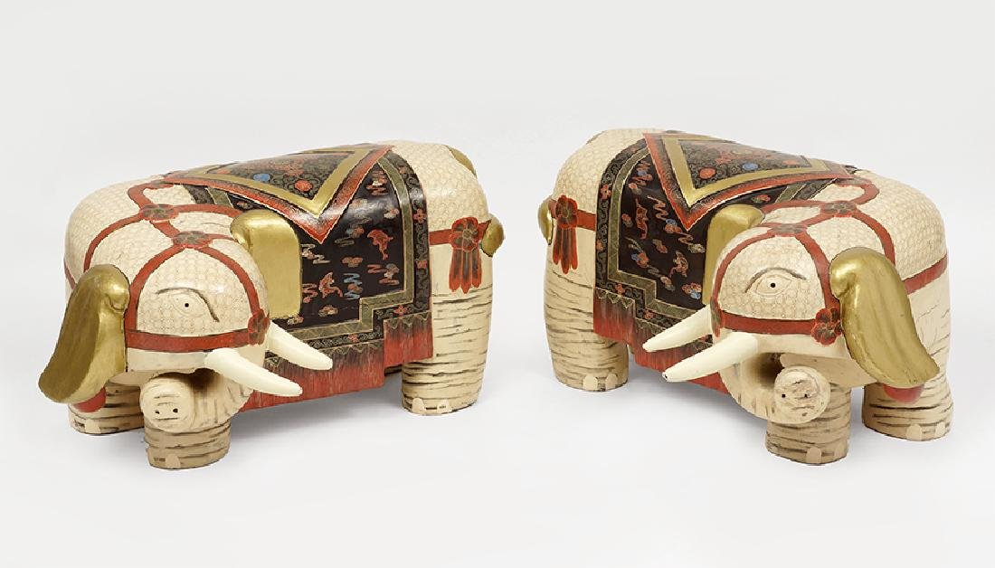 A Pair of Painted Wood Elephants.