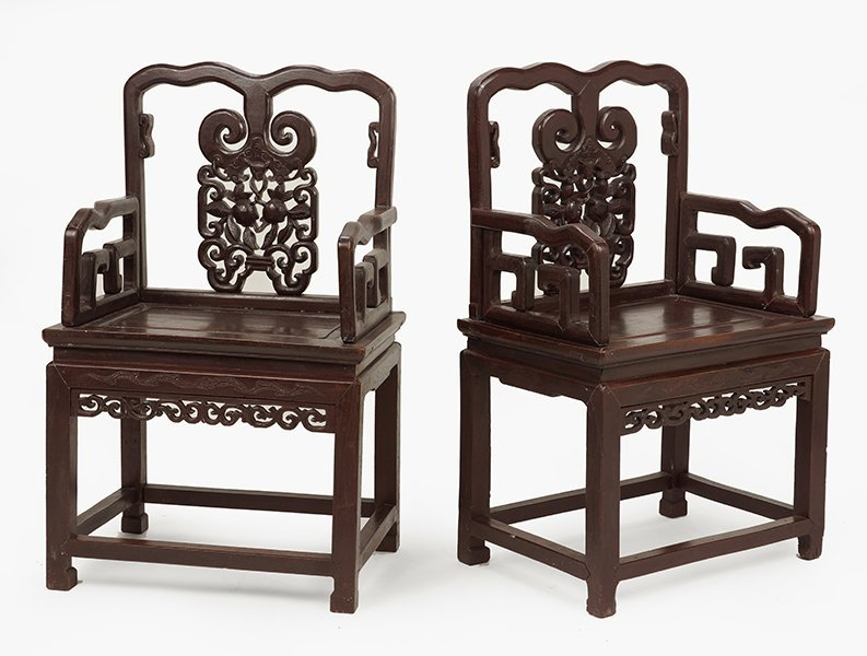 A Pair of Chinese Carved Wood Open Armchairs. - 2