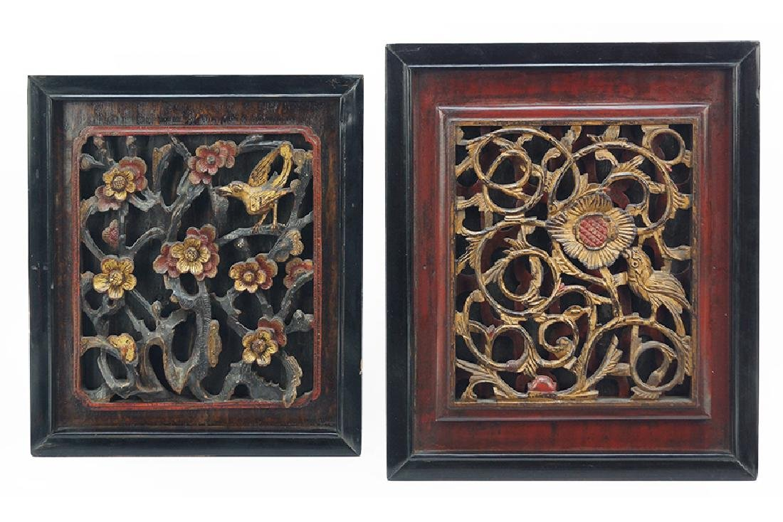 Two Chinese Carved Relief Wood Panels.