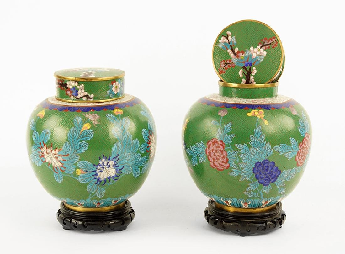 A Pair of Cloisonne Jars.