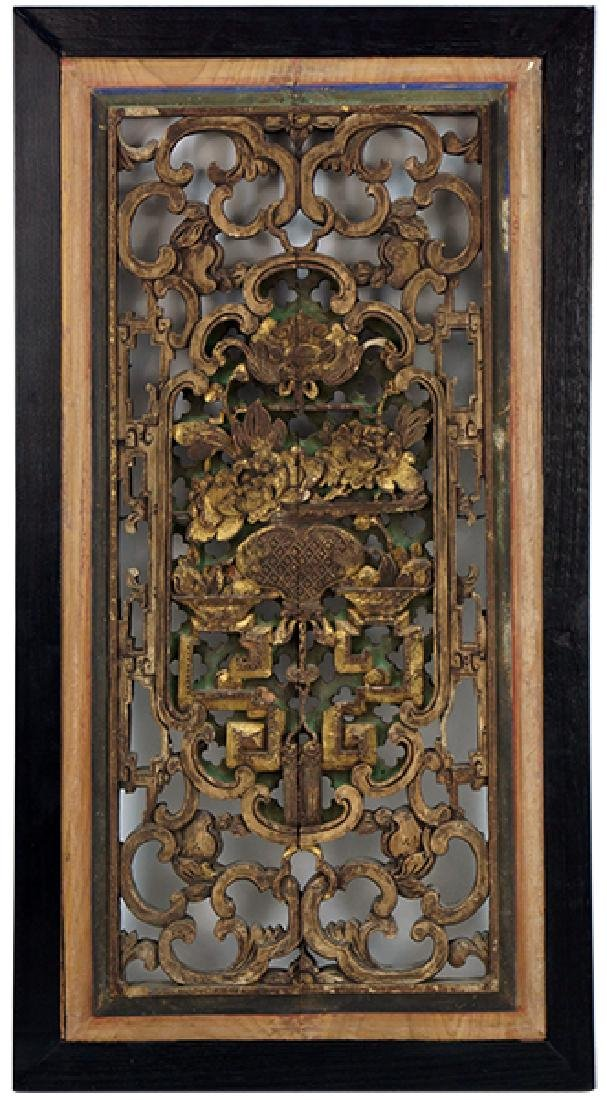 A Chinese Parcel Gilt Wood Panel.