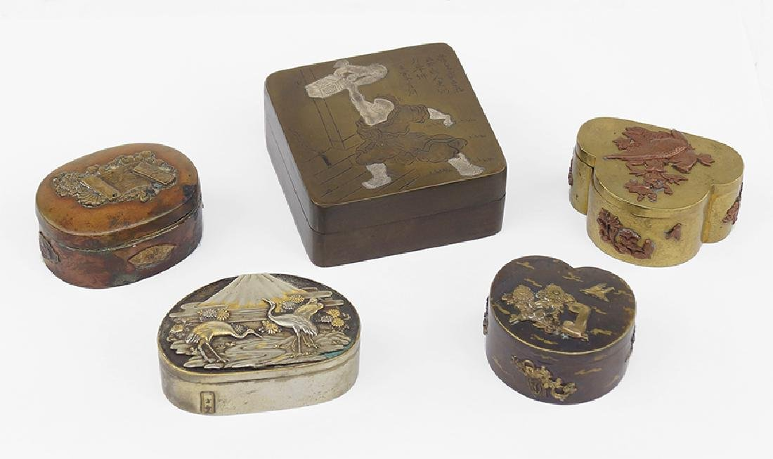 Five Japanese Bronze Boxes.