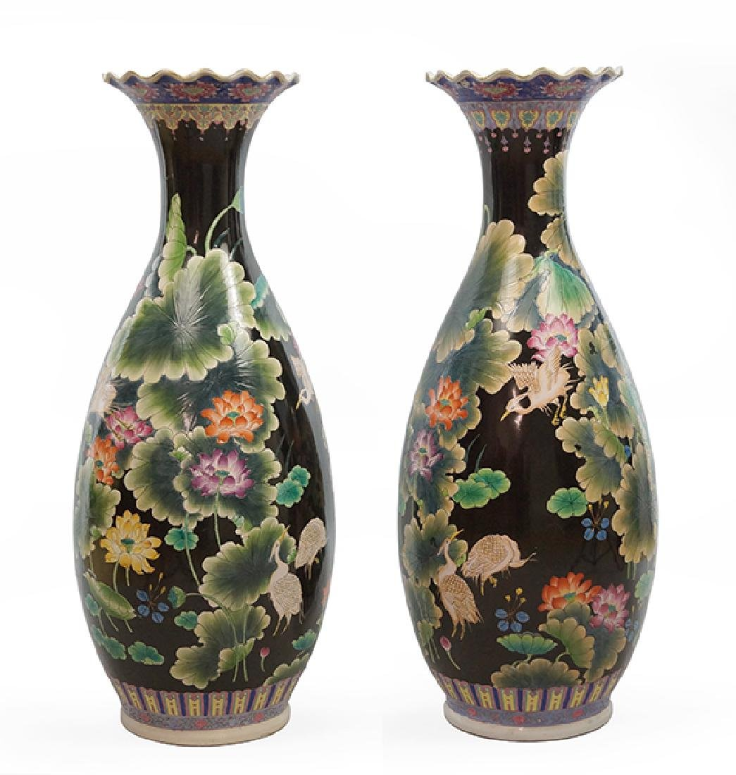 A Pair Of Chinese Porcelain Floor Vases.