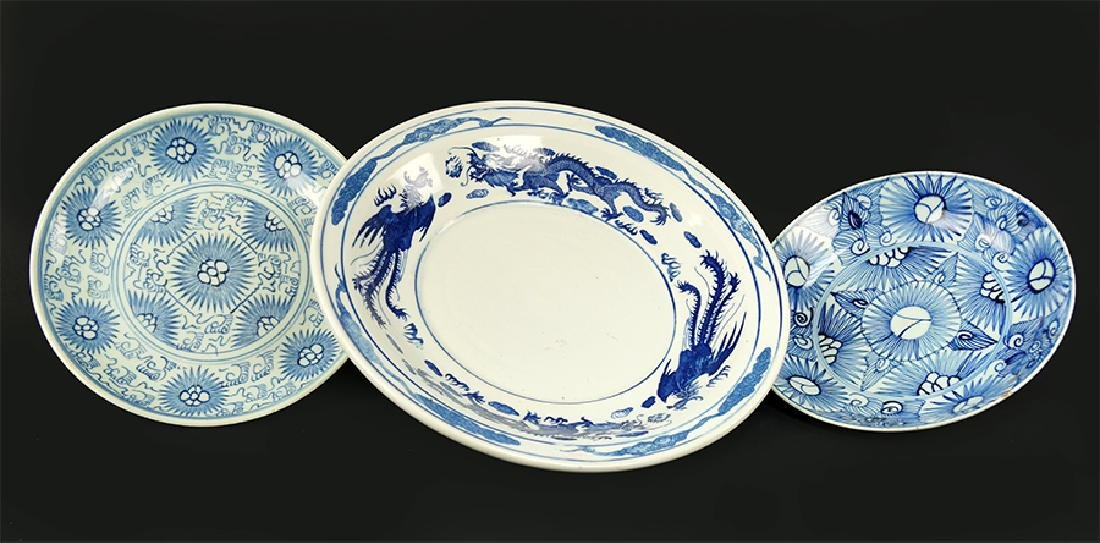A Collection of Asian Blue and White Porcelain Table