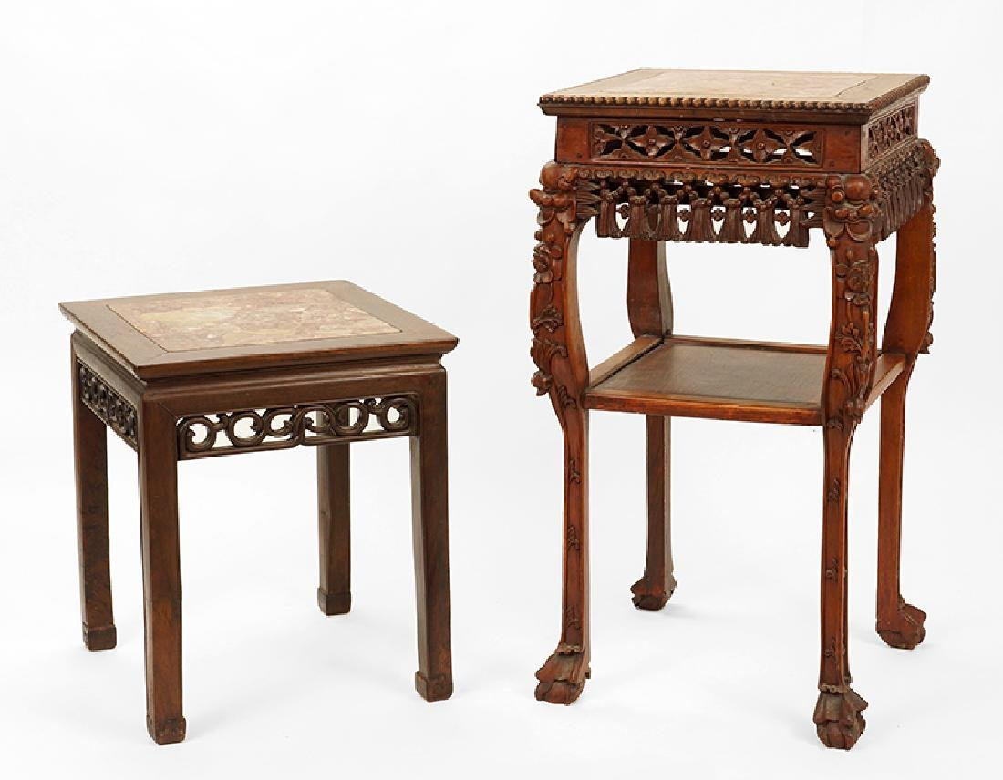 Two Chinese Square Plant Stands.