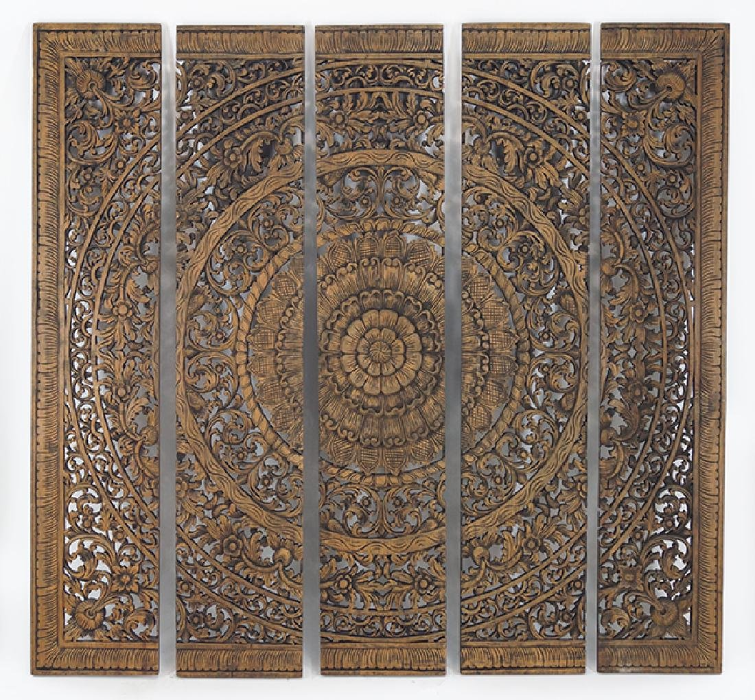 A Chinese Carved Wood Panel.