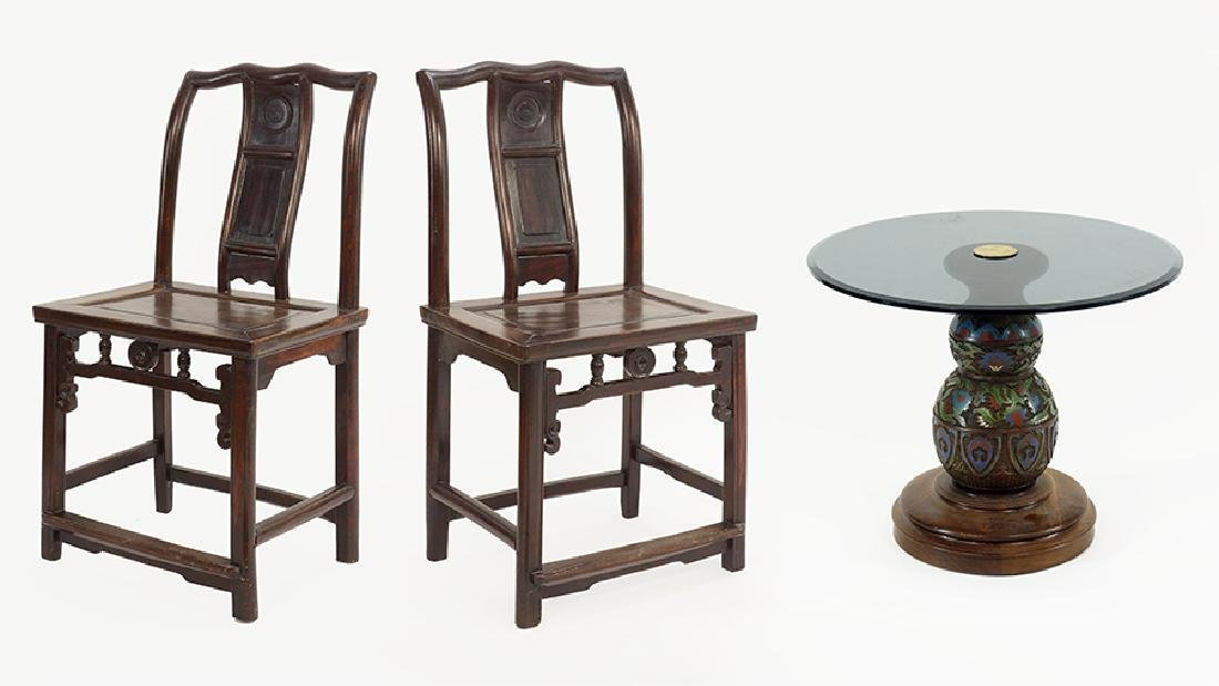 A Pair of Chinese Carved Wood Side Chairs.