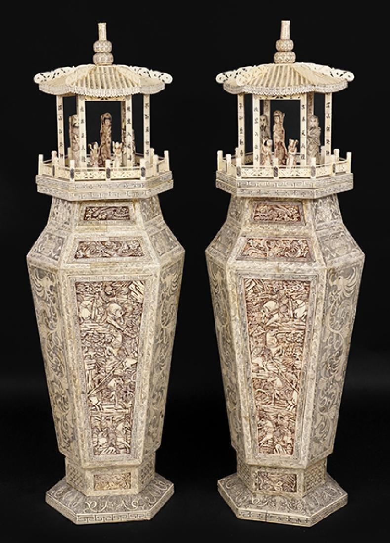 A Pair of Chinese Bone Veneer Pedestals.