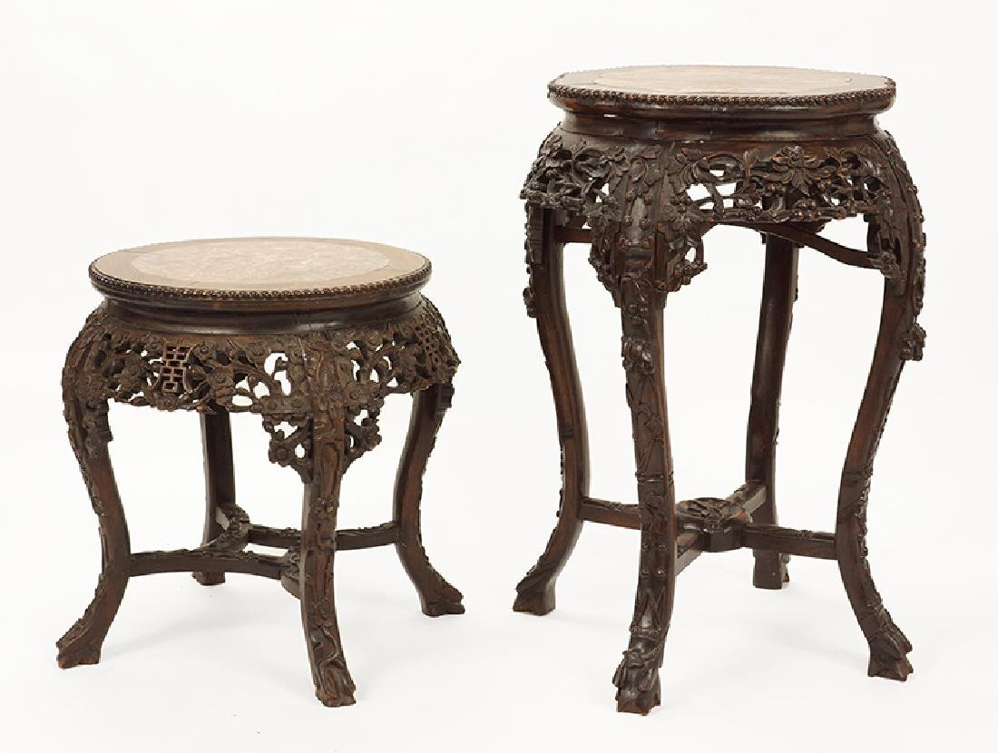 Two Chinese Carved Wood Plant Stands.