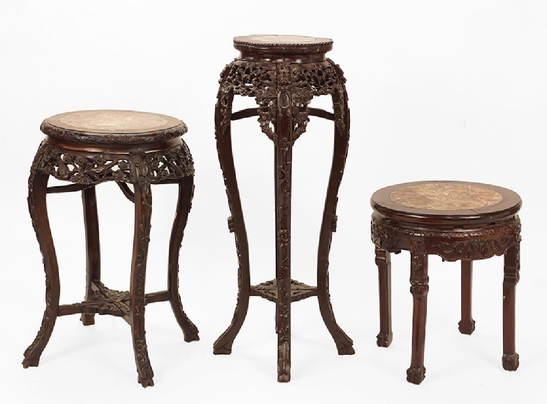 Three Chinese Plant Stands.