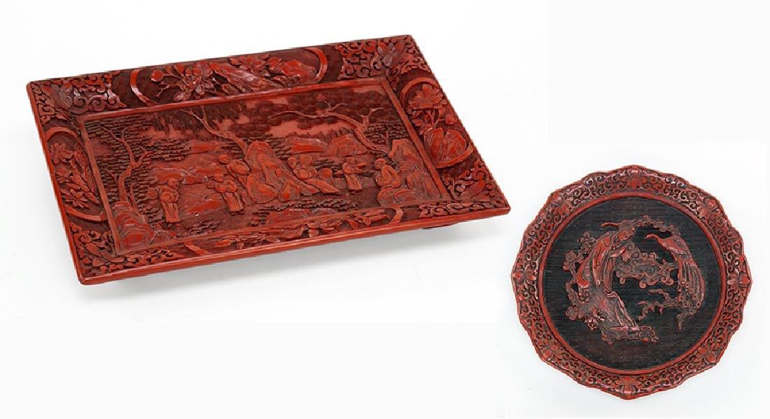 A Chinese Cinnabar Tray.