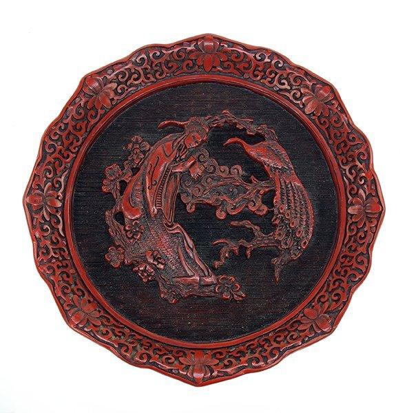 A Chinese Cinnabar Tray. - 3