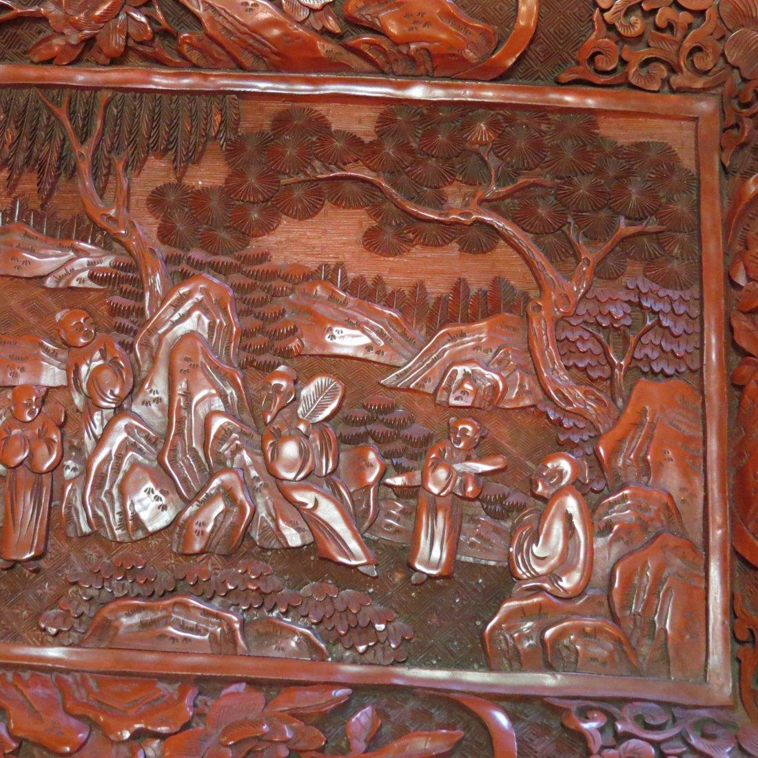 A Chinese Cinnabar Tray. - 6