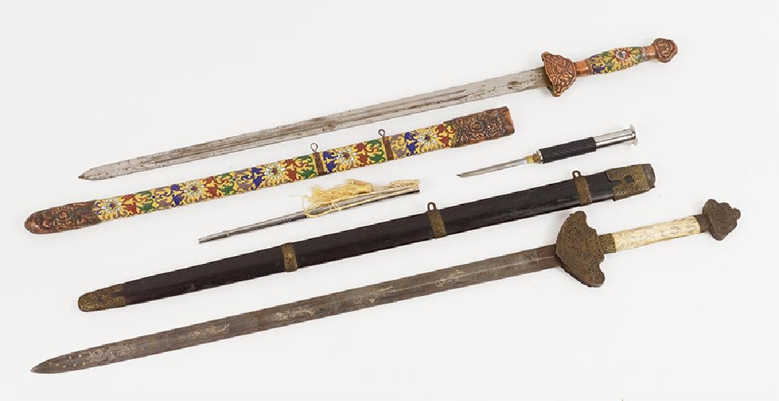 Two Decorative Chinese Jian Style Swords.