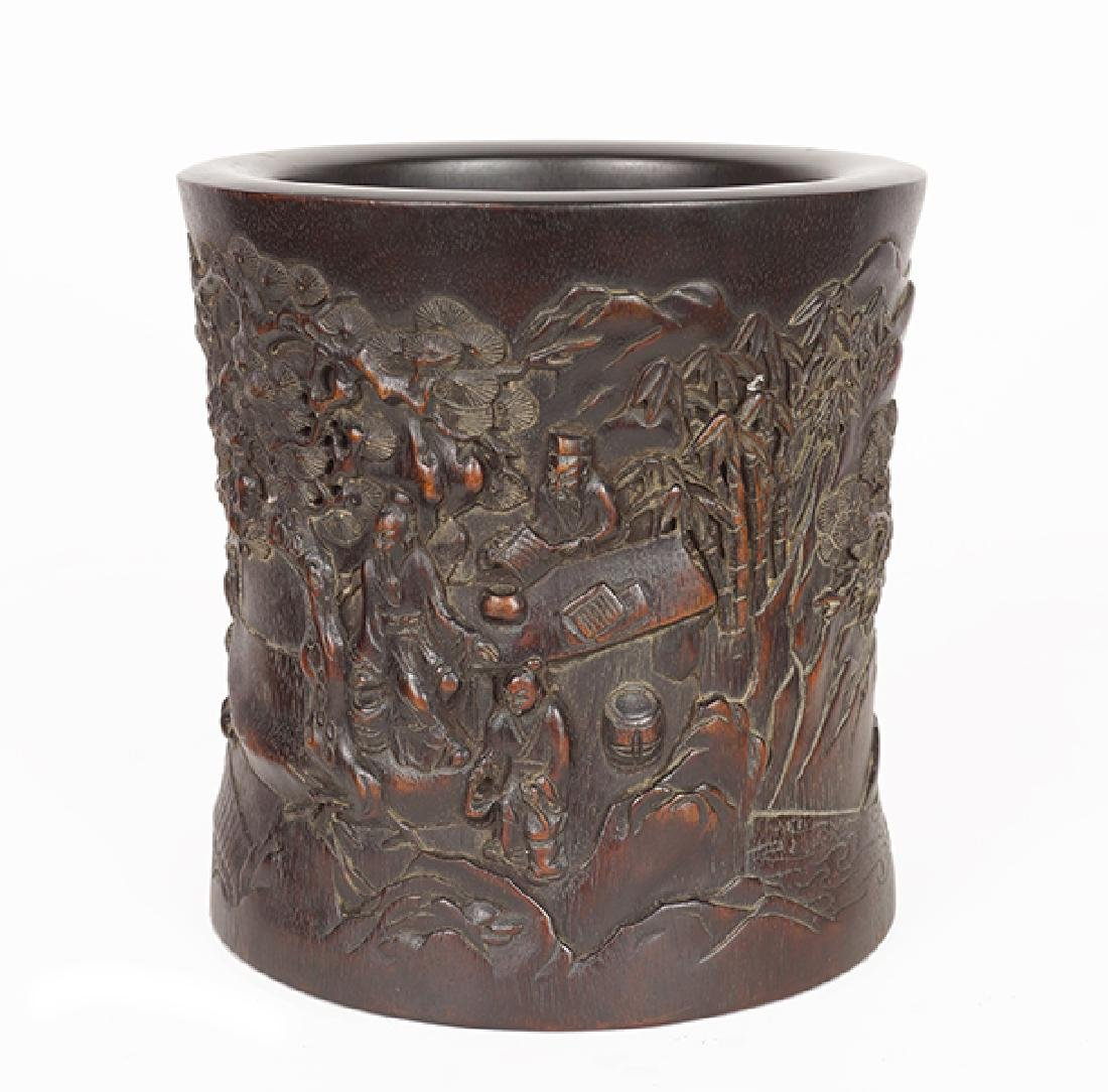 A Chinese Carved Bamboo Brush Pot.