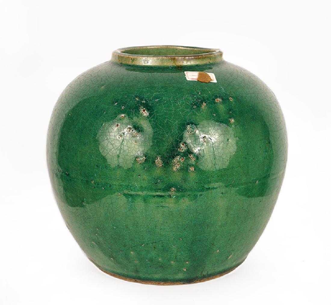 A Chinese Green Glazed Terracotta Ginger Jar.
