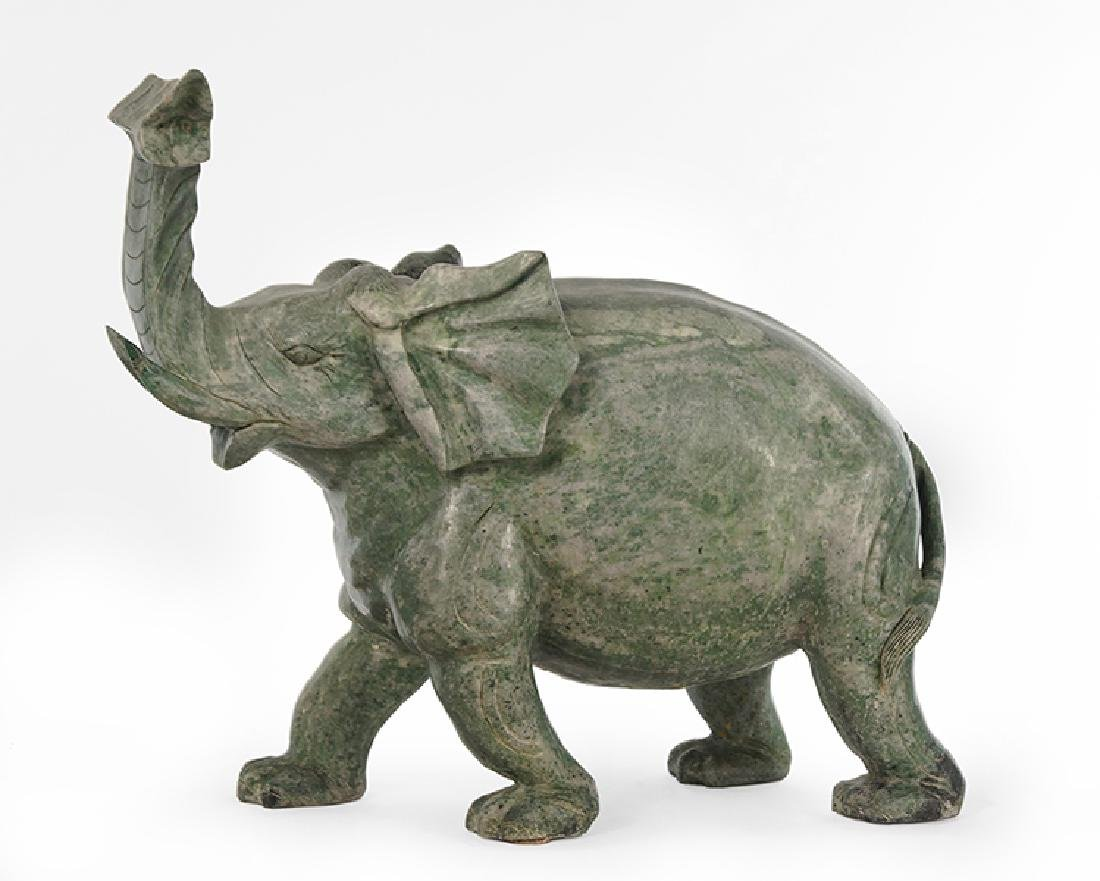 A Chinese Carved Soapstone Elephant.